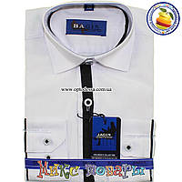 Стильные детские Белые рубашки с длинным рукавом (Ворот: 28- 36) (vk73-1)