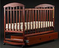 Детская кроватка-качалка с ящиком,лакированная темная