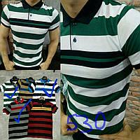 Модная мужская футболка поло в полоску