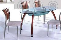 Стол стеклянный овальный А-624 хромированный каркас с вишневыми деревянными накладками на ногах стола, каленое
