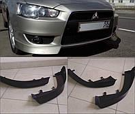 Клыки переднего бампера Lancer Х (ABS пластик)