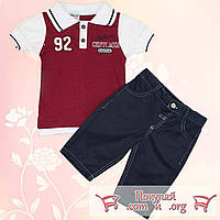 Летний костюм футболка поло и бриджи для мальчика от 2 до 5 лет (5355-2)