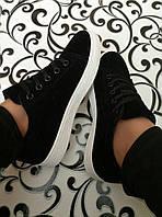 Модные кеды криперы кроссовки черные эко-замш велюр