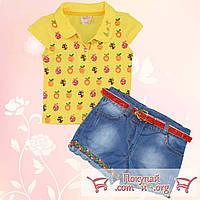 Джинсовые шорты и футболка для девочек от 1 до 4 лет (5358-1)