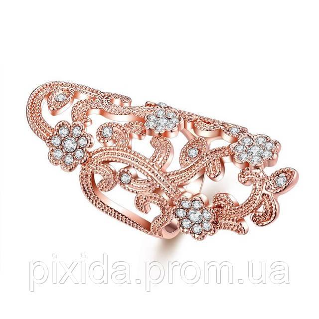 Кольцо Элегия циркон покрытие розовое золото 18К