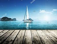 Панно Яхта в море - фотопечать кафель на стены, плитка 20х30см.