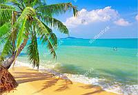 Панно Пляж с пальмой - фотопечать кафель на стены, плитка 20х30см.