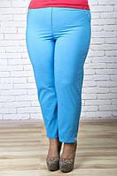 Летние голубые легкие укороченные брюки 168842 ТМ Ирмана 52-60 размеры