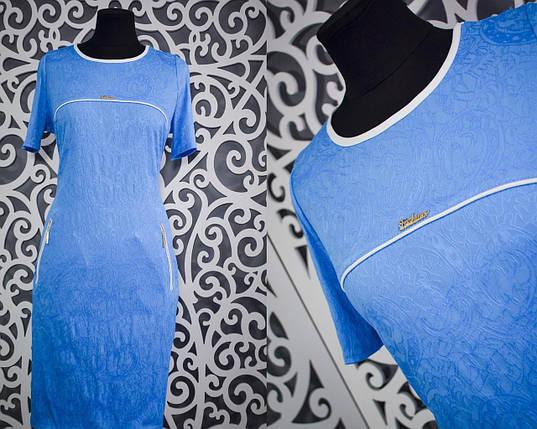 """Нежное женское платье """"Стрейч-коттон"""" с набивным рисунком 50 размер баталы, фото 2"""