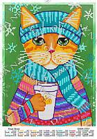 """Схема для частичной вышивки бисером """"Кошка Зинка"""""""