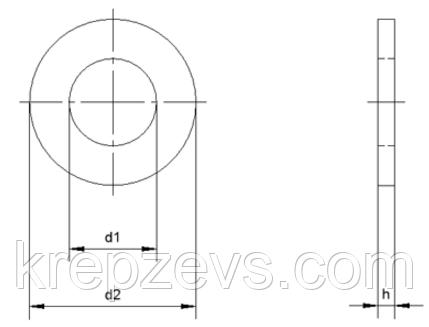 Плоская нержавеющая шайба ГОСТ 11371-78, DIN 125 Ф42