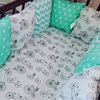 Бортики-защита в детскую кроватку — хлопок: премиум-класс, фото 1
