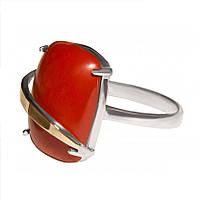 Женское серебряное кольцо с золотыми пластинами арт. 154, фото 1