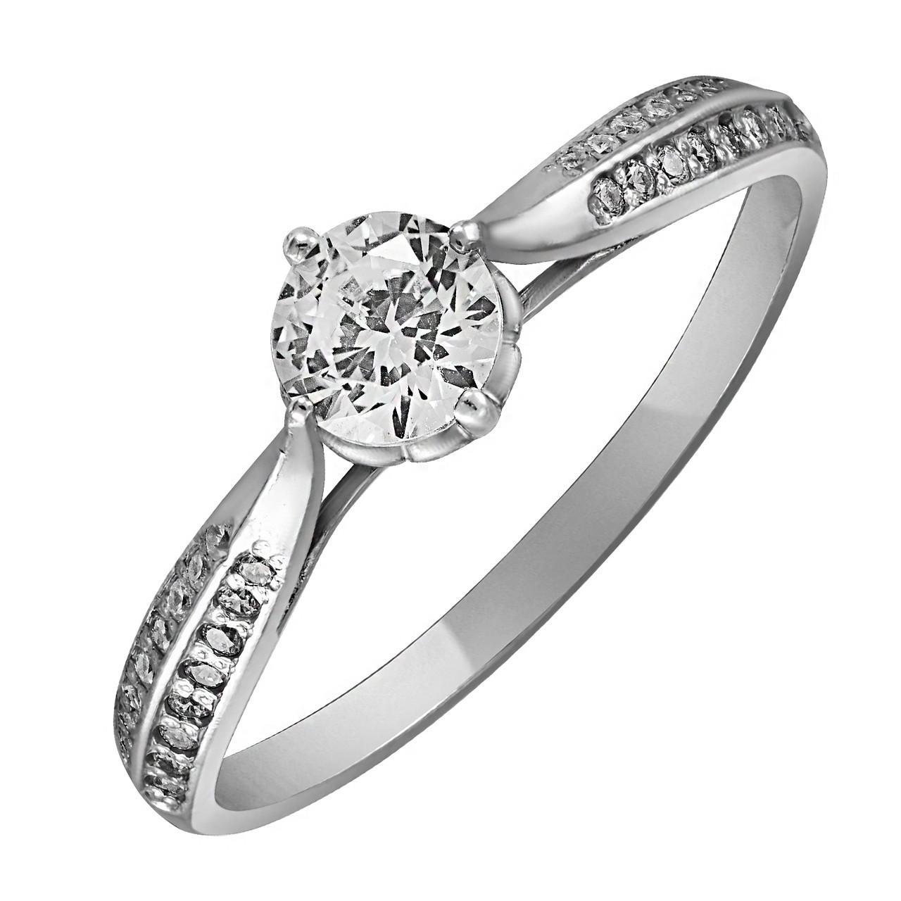 Кольцо из серебра с куб. циркониями 173730,