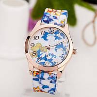 Женские часы  силиконовые синие