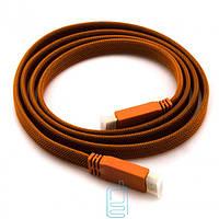 HDMI кабель 1.4v карбон плоский 1.5m оранжевый