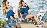 Летняя яркая блуза-туника с активной рюшей