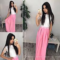 Женский модный комплект: кружевной топ и юбка в пол (2 цвета)