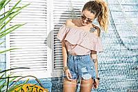 Летняя яркая блуза-туника гороховый принт