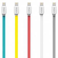Кабель Rock Lightning Flat Data Cable для iPhone / iPad, 1 метр, разные цвета
