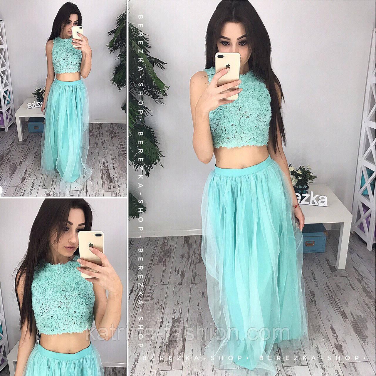 Женский стильный комплект  топ и юбка из фатина (2 цвета)  продажа ... 1cc479bd298