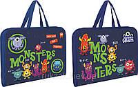 Папка-портфель Yes Monsters на молнии с тканевыми ручками 491232