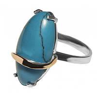 Женское серебряное кольцо с золотыми пластинами арт. uk155