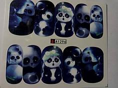 """Наклейка на ногти, наклейка для ногтей, ногтевой дизайн """"панды"""" 10 шт набор"""
