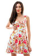 Сарафан платье голубой в цветочек короткий, замш, размер S M L