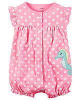 Песочник на девочку. Розовый в горошек Морской конек- Appliqué seahorse Carter's (США)