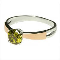 Женское серебряное кольцо с золотыми пластинами арт. uk159, фото 1