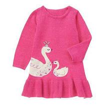 Платье трикотажное вязаное с длинным рукавом для девочки 2-3-4 года Лебеди Gymboree (США)
