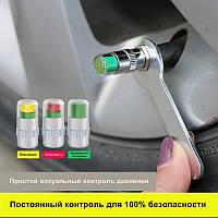Колпачок на ниппель колеса с индикатором давления воздуха, материал металл/пластик, цвет хром, 1 шт.