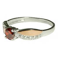 Женское серебряное кольцо с золотыми пластинами арт. uk157