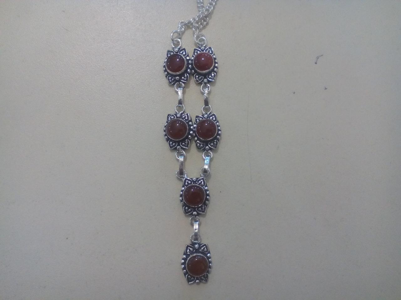 Сердолик ожерелье натуральный сердолик в серебре