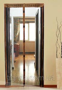 Москитная сетка штора на дверь на магнитах Magic mesh без рисунка (220х110). Серая