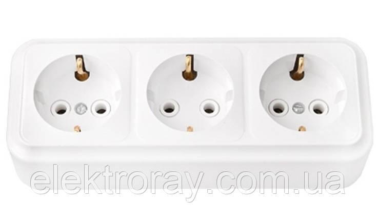 Розетка тройная с заземлением Bylectrica Пралеска белая, фото 2