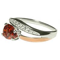 Женское серебряное кольцо с золотыми пластинами арт. uk156