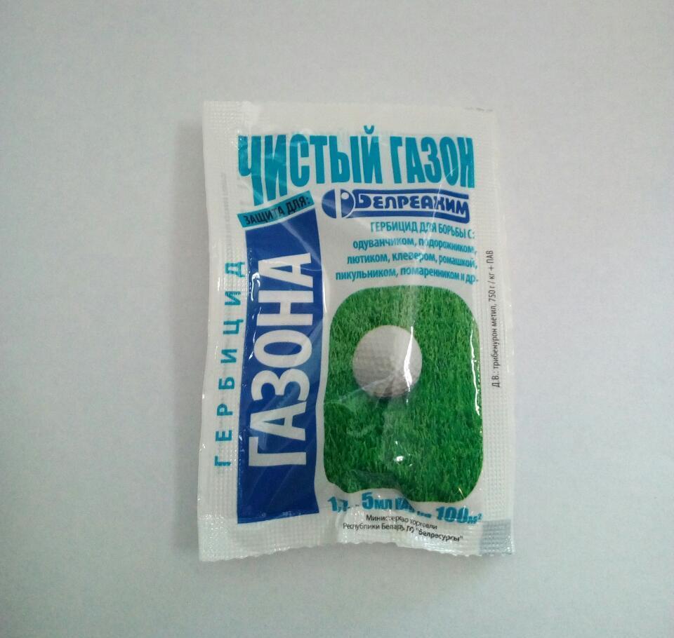 Системный гербицид Чистый газон (1,7 г + 5 мл) — уничтожает сорняки на газоне (осот, одуванчик, клевер, и др.)