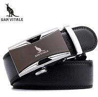 Мужской кожаный ремень из натуральной кожи San Vitale с автоматической пряжкой 07