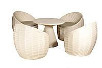Комплект для отдыха из искусственного ротанга плетеный