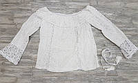 Блузка кружевная белая из прошвы 0303
