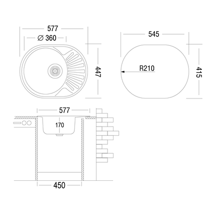 Кухонная мойка UKINOX FA*577.447 GW 8K(Decor) Турция, нержавеющая сталь, фото 2