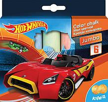 Яркий и насыщенный мел цветной Jumbo, 6 цветов Hot Wheels