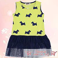 Платье с гипюром и собачками для девочек от 5 до 8 лет (5410-3)