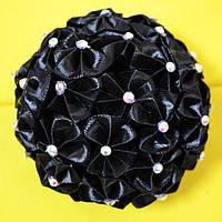 Заколка для волос Цветок Канзаши воздушный черный