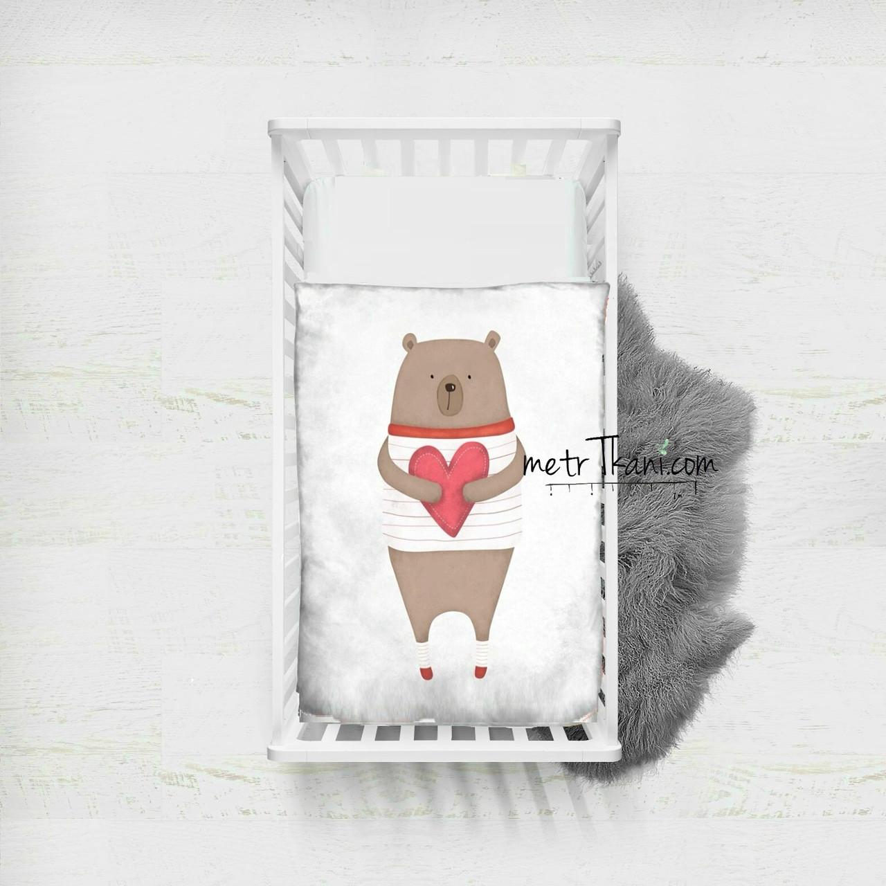 """Панельки з бавовняної тканини """"Ведмедик з серцем"""", 100*75 см"""