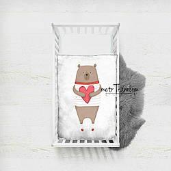 """Панельки из хлопковой ткани """"Мишка с сердцем"""", 100*75 см"""