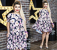 Летнее воздушное платье цветочного принта батал