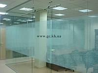 Стеклянная перегородка с раздвижной дверью и фрамугой из закаленного стекла